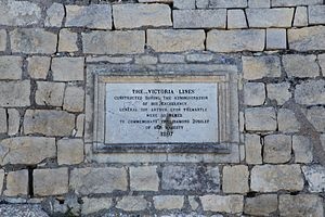 Arthur Lyon Fremantle - A plaque on the Victoria Lines in Mosta, Malta with a reference to Governor Fremantle
