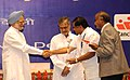 Manmohan Singh presenting the award for the best performing States under the Panchayat Empowerment & Accountability Incentive Scheme (PEAIS) to Karnataka, at the National Panchayati Raj Diwas, in New Delhi on April 24, 2010.jpg