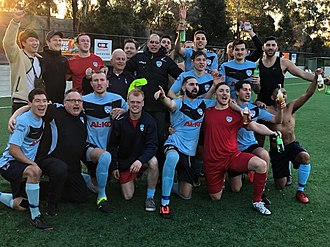 Manningham United FC - Manningham United celebrate promotion in 2018