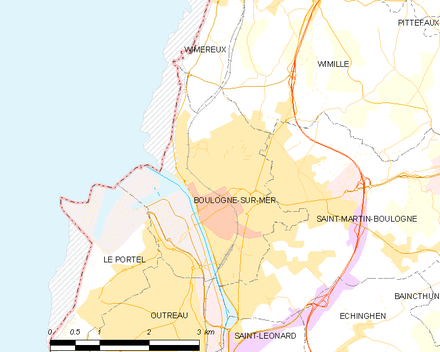 Modern map of Boulogne and vicinity (commune FR insee code 62160) Map commune FR insee code 62160.png
