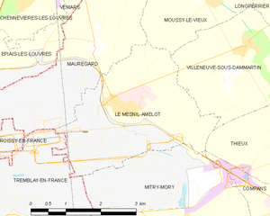 Le Mesnil-Amelot - Image: Map commune FR insee code 77291