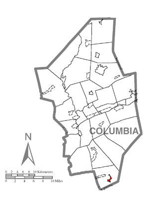 Aristes, Pennsylvania - Image: Map of Aristes, Columbia County, Pennsylvania Highlighted