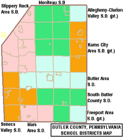 Map of Butler County Pennsylvania School Districts.png