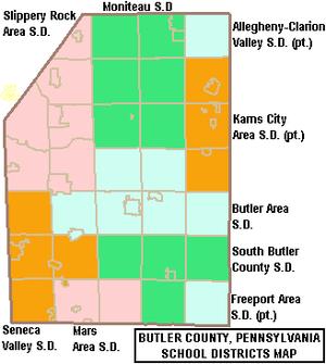 Butler County, Pennsylvania - Map of Butler County, Pennsylvania Public School Districts