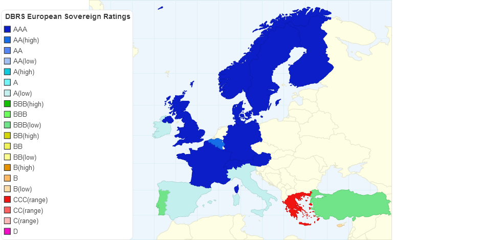 Map of DBRS Sovereign Ratings in Europe