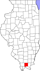 Map of Illinois highlighting Johnson County