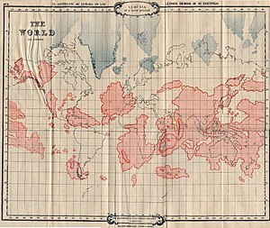 Lemuria in popular culture - 1896 map of Lemuria superimposed over the modern continents from Scott-Elliott's The Story of Atlantis and Lost Lemuria.