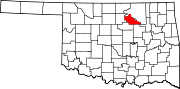 Map of Oklahoma highlighting Pawnee County.svg