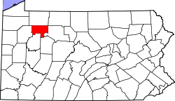 map of Pennsylvania highlighting Forest County