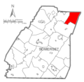 Map of Somerset County, Pennsylvania highlighting Ogle Township.PNG