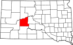 State map highlighting Haakon County
