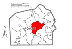 Map of Adams County, Pennsylvania highlighting Straban Township
