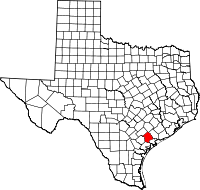 Map of Texas highlighting Victoria County