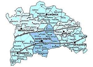 Nowy Tomyśl County - Image: Mapa powiatu nowotomyskiego