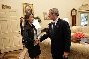 María Corina Machado - George W. Bush welcomes María Corina Machado to the Oval Office on 31 May 2005.