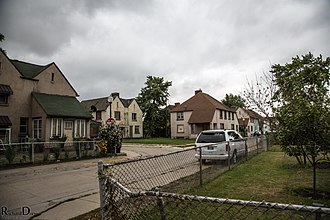 Marktown - Abandoned houses and duplexes side by side with occupied.