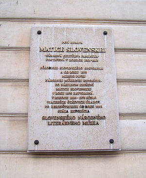 Matica slovenská - Memorial plaque at first building of Matica