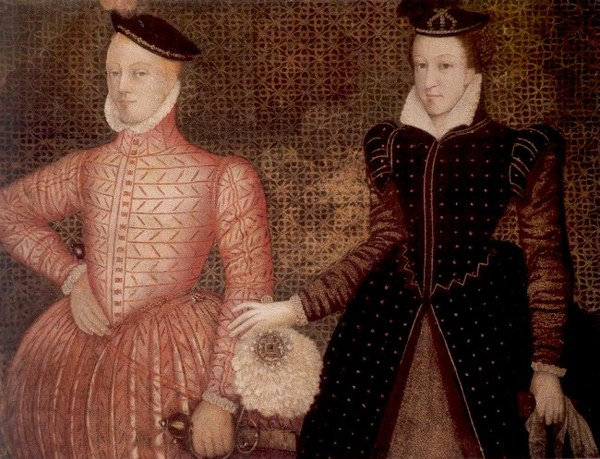 Darnley and Mary, Queen of Scots (painting circa 1565, now at Hardwick Hall in Derbyshire). Mary Stuart James Darnley.jpg