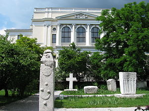 National Museum of Bosnia and Herzegovina -  Medieval tombstones around National Museum of Bosnia and Herzegovina.