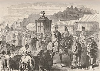 Meiji period - The fifteen-year-old Meiji Emperor, moving from Kyoto to Tokyo at the end of 1868, after the fall of Edo