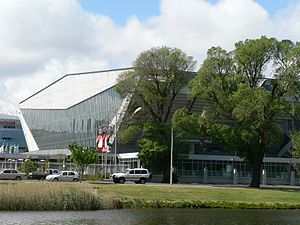 1956 Summer Olympics - The heritage registered former Olympic Pool (now Westpac Centre) from the Yarra River.