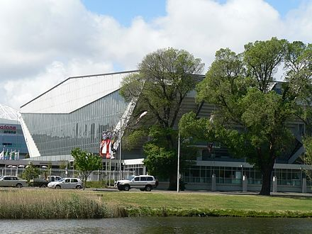 The heritage registered former Olympic Pool (now the Holden Centre), viewed from the Yarra River Melbourne olmpic pool (lexus centre).jpg