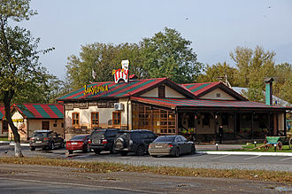 Highway M18 (Ukraine) - A roadside cafe on M18 near Melitopol