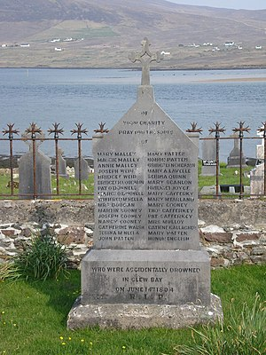 Achill Island - Memorial for the victims of the Clew Bay Drowning on 15 June 1894 at Kildavenet Graveyard