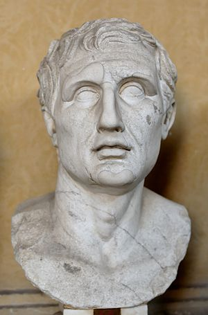 Menander - Bust of Menander. Marble, Roman copy of the Imperial era after a Greek original (ca. 343–291 BC).