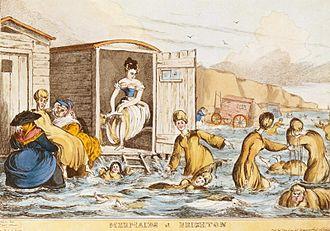 Bathing machine - Mermaids at Brighton swim behind their bathing machines in this engraving by William Heath, c. 1829.