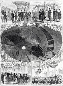 A montage showing the arrival at Birkenhead Central, inspection of the hydraulic machinery, the Royal Train passing through the tunnel, the declaration of the tunnel being open and a luncheon in the ball room.