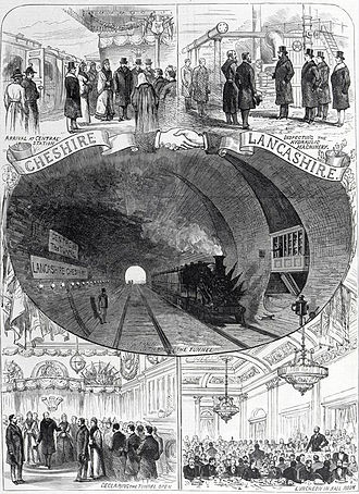 Mersey Railway - The Illustrated London News showing the opening of the Mersey Railway Tunnel