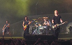 Metallica live in London, 2003. Left to right: Robert Trujillo, Kirk Hammett, Lars Ulrich, James Hetfield.