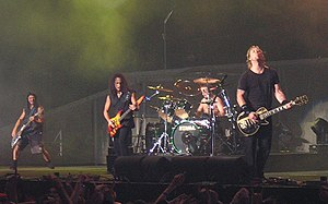 Rock concert - Metallica while performing in London, December 19, 2003.