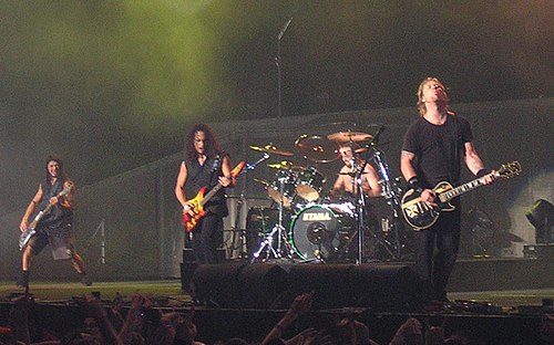 Metallica's performance on MTV Icon was their first television appearance with new bassist Robert Trujillo (left). Metallica live London crop.jpg