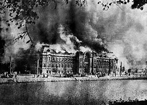 Metropolitan Police Office burning at Marunouchi, near Hibiya Park.