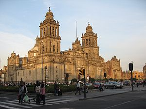 Mexico City Metropolitan Cathedral - The cathedral as seen from Madero street.
