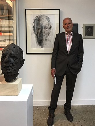 Michael Allingham (economist) - With bronze and charcoal (each by Lucy Stopford  2017)