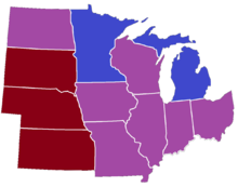 Midwestern United States Wikipedia - Map of midwest states
