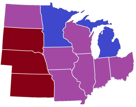 Party affiliation of United Senators from the Midwest as of 2013 Midwestern Senators Map.png