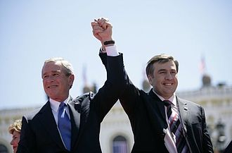 Mikheil Saakashvili - Presidents Saakashvili and George W. Bush in Tbilisi on 10 May 2005