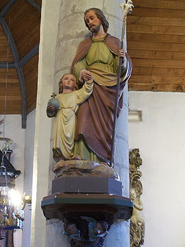 Statue of St Joseph and Jesus, Millegem Kerk.