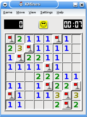 Puzzle video game - Minesweeper, a popular computer puzzle game found on many machines.