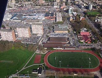 Minoru Park - East-facing aerial view of Minoru Park
