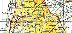 Battle of Mishmar HaEmek - Villages cleared in Haganah counter-attack (red). Those captured on 12 May by Irgun marked by blue spots.