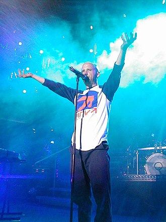Moby - Moby's success in the late 1990s led him to launch the Area One festival; he is seen here performing in 2001.