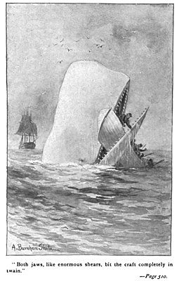 Moby Dick attacking a whaling boat. Moby Dick p510 illustration.jpg