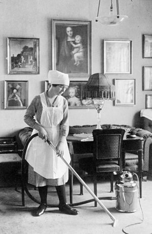 Maid - A maid cleaning in Denmark in 1912.