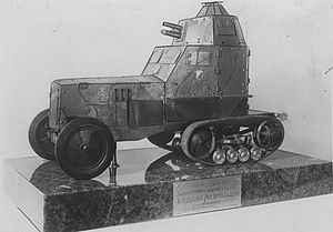 Samochód pancerny wz. 28 - A 1932 scale model of the wz. 28 armoured car, donated to Marshal Józef Piłsudski by one of the units equipped with the vehicle