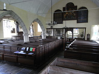 Molland - Church of St. Mary, Molland, looking eastward over box pews